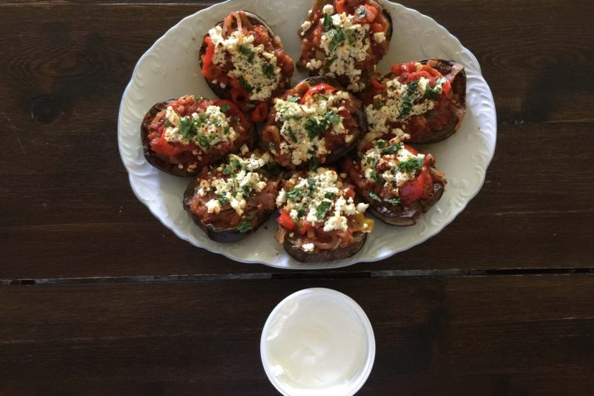 eggplants with tomato sauce and feta